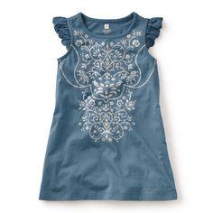 Tea SS16 Venetian Metallic Dress in monsoon - Classically cute ruffled sleeves and ornate metallic design work make this dress artfully adorable. - $35
