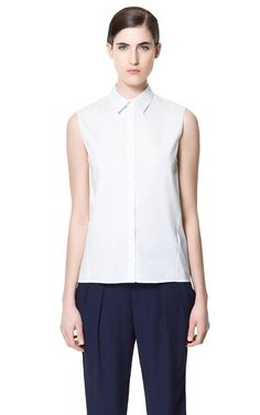 Zara // SLEEVELESS SHIRT // 78% Cotton, 19% Polyamide, 3% Elastane // US$39.90