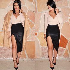#OOTD deets makeup details next Top & Skirt @hotmiamistyles Coat @asos Shoes @lolashoetiquedolls (code:amrezy)