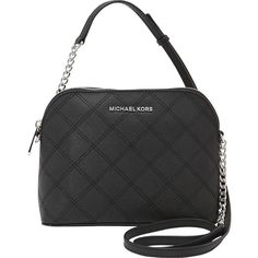 MICHAEL Michael Kors Cindy Large Dome Crossbody ($178) ❤ liked on Polyvore featuring bags, handbags, shoulder bags, black, designer handbags, crossbody shoulder bags, black crossbody, black cross body purse, crossbody handbags and black shoulder bag