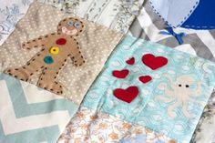 DIY #Patchwork Quilt - Baby Shower craft activity #TheCraftyHen #craftbabyshower #babyblanket
