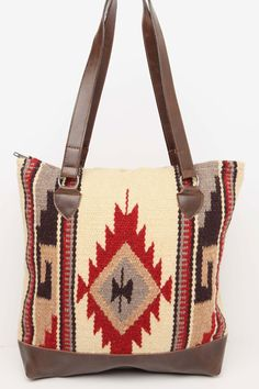 "Handwoven 100% Wool panels in classic Zapotec styles and eye catching colors with  Durable Grade 'A' soft faux leather bottom, comfortable sturdy handles. Zipper closure, fully lined with an inside pocket Approx 15"" X16"""