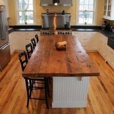Amazing Stylish Oak Wooden Countertop Kitchen Island With Black Seating Barstool Black Countertop U Shape White Kitchen Cabinet Wallmount Range Hood Above Cooktop Laminate Floor Wood Countertops Bring Warmth to Any Style Kitchen Pine Kitchen, Kitchen Tops, Wooden Kitchen, Kitchen Ideas, Micro Kitchen, Kitchen Sinks, Bathroom Cabinets, Farmhouse Kitchen Island, Kitchen Island With Seating