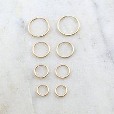 1 Pair 14K Gold Filled Small Endless Hoop Earrings 16mm, 14mm, 12mm,9mm Earring Wires Earring Hook C