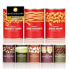 PLATINUM – BEST OF THE CATEGORY FOOD : Waitrose Canned Pastas & Canned Vegetables Still one of my all time favorite packages! (Turner Duckworth)