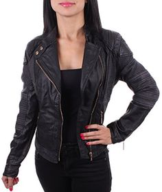 Enimay Women's Biker Inspired Leather Fashion Jacket Vegan Certified Black Small * Learn more by visiting the image link.