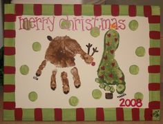Hand and footprint art for Christmas