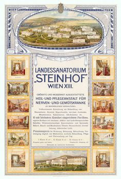Poster advertising the Steinhof sanatorium (full-size) - Wellcome Collection Otto Wagner, Wellcome Collection, Neurology, Psychiatry, Asylum, Yes, Street Art, Medicine, Advertising