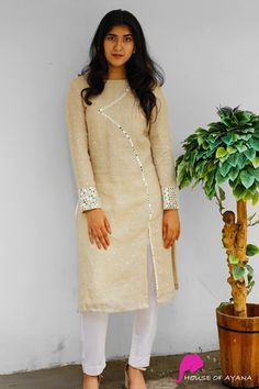 Harper Embroidered Kurti with Straight Pants - House of Ayana Kurtha Designs, Silk Kurti Designs, Churidar Designs, Kurta Designs Women, Kurti Designs Party Wear, Sleeves Designs For Dresses, Dress Neck Designs, Kurta Neck Design, Collar Kurti Design