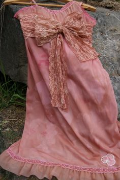 Upcycled Vintage slip, romantic french slip dress, english cottage, boho, hand dyed bridesmaid slip dress. via Etsy.