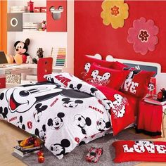 Red And White Mickey Mouse Head Kids Bedding For Christmas-Boys and Girls Kids Bedding Sets Mickey Mouse Bett, Mickey Mouse Room, Mickey Mouse Kitchen, Minnie Mouse, Casa Disney, Disney Home, Kids Bedroom, Bedroom Decor, Disney Bedding
