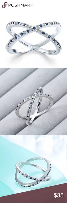 Sterling Silver X Criss-Cross Ring **COMING SOON** Brand new Sterling silver 925 X ring! Beautiful Criss cross design accented with blue and white pattern CZ. Comes with original velvet pouch packaging. This ring is gorgeous and so sparkly. Reasonable offers only! Jewelry Rings