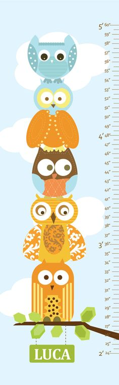 Owl Growth Chart on Canvas  Stacked Owls 13 X42 by UrbanTickle, $54.00