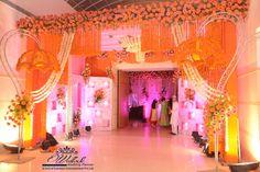 Traditional red stage setup indian wedding stage decoration elegant genda phool entrance decor indian wedding decor setup floral junglespirit Gallery