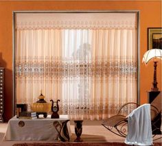 Entrancing Western Classical Curtains With Gorgeous White Sofa And Unique  Lamp Shade   A Part Of 23 Fancy Window Curtains Design Ideas To Spruce Up  Your ...
