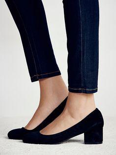 Taupe Suede Cyndi Block Heel at Free People Clothing Boutique