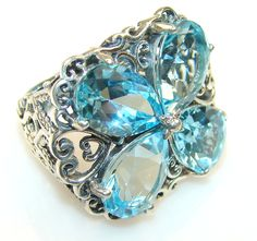 $69.85 Forever Swiss Blue Topaz Sterling Silver Ring s. 5 1/4 at www.SilverRushStyle.com #ring #handmade #jewelry #silver #topaz
