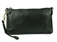Small black all leather clutch with wrist strap. Sold by Love Viva. https://www.facebook.com/LoveVivaaccessories