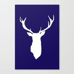 Deer Antler Navy Blue Canvas Print by AleDan. Worldwide shipping available at Society6.com. Just one of millions of high quality products available.