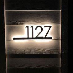 Large House Numbers, Led House Numbers, House Number Plates, Sign Lighting, Strip Lighting, House Shine, Backlit Signs, Clinic Design, Home