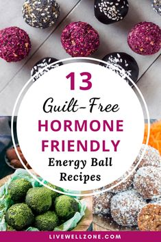 Need ideas for tasty hormone balance foods or snacks? Then add these energy ball recipes Vegan Energy Balls, Protein Energy, Protein Ball, Food For Energy, High Protein, Paleo Vegan, Healthy Snacks, Healthy Eating, Healthy Recipes