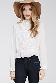 Embroidered High-Neck Blouse | FOREVER21 - 2000079611