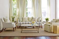 Living room furniture and curtains made from Sarah Richardson's Kravet fabric line