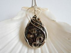 Wire Wrapped, Jewelry, Handmade, Turritella, Fossil, Jewelry, Pendant, Necklaces for Women, 226953  by elainesgems, $26.00 USD