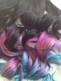 Ombre Hair Tie dye Hair Black Hair von NinasCreativeCouture auf Etsy, $245.00