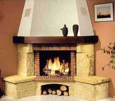 Risultati immagini per chimeneas esquineras rusticas Cottage Fireplace, Farmhouse, Doors, Living Room, Stone, Architecture, Design, Home Decor, Fireplaces