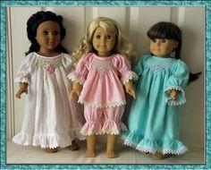 "Free Printable Smocking Plates | Emily Nightgown and Pyjamas PDF pattern for 18"" Doll"