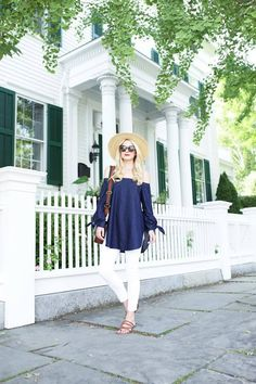 Tibi's Lightweight Denim Off-The-Shoulder Tunic is a new, chic way to wear denim-on-denim. As seen on Atlantic-Pacific.