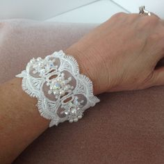 White Lace Bridal Cuff Bracelet with Swarovski Pearls, Swarovski crystal beads and seed bead embellishments by MichelleElaineDesign on Etsy