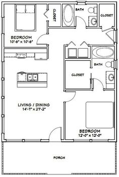 28x34 House -- #28X34H1D -- 952 sq ft - Excellent Floor Plans
