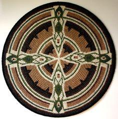 """Earth Mandala Tapestry"" by sriyana.some Amazing Tapestry Crochet here! Crochet Mandala Pattern, Crochet Art, Tapestry Crochet, Crochet Doilies, Crochet Stitches, Mochila Crochet, Crocodile Stitch, Crochet Scarf For Beginners, Groomsmen"