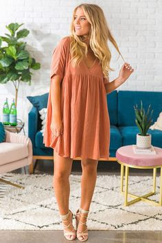 Soho Livin' Tunic Dress in Rustic Peach Date Outfit Summer, Summer Dress Outfits, Date Outfits, College Outfits, Spring Outfits, Casual Outfits, Babydoll Dress Outfit, Dress Skirt, Peach Clothes