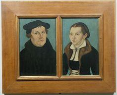 Lukas Cranach il Vecchio (1572–53), Ritratti di Martin Lutero e Caterina von Bora, olio su tavola, Firenze, Galleria delle Statue e delle Pitture degli Uffizi.