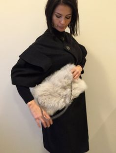 Folded Fur Clutch Bag / Lambskin Shoulder Bag / Off by Imunde