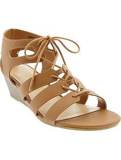 Women's Gladiator Wedge-Sandals| Old Navy. I don't like gladiator sandals, BUT I love these!!