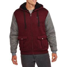 Men's Sherpa Hoodie with Contrast Sleeves, Size: Medium, Red