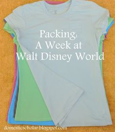 Domestic Scholar: Packing: A Week at Disney World Disney World 2015, Disney World Packing, Disney Vacation Planning, Walt Disney World Vacations, Disneyland Trip, Disney Parks, Disney Travel, Disney 2015, Orlando Vacation