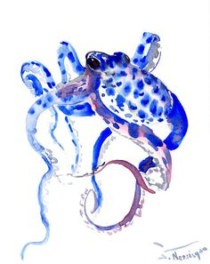 Octopus Original watercolor painting 10 X 8 in sea by ORIGINALONLY, $26.00