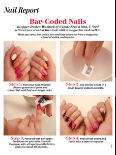 con-moto-maestoso:    Bar code nails. From Allure Magazine (August, 2012).