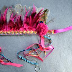 Pom Vibrant Festival Headdress Feather Crown by Hapuska on Etsy