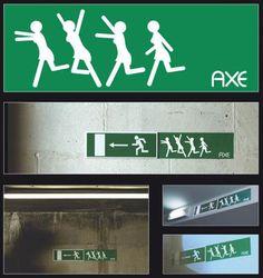 Axe print advertisement road sign