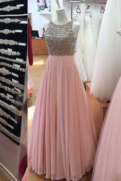 Pink chiffon sequins round neck long evening dresses,formal dress sold by Special Occasion Dress. Shop more products from Special Occasion Dress on Storenvy, the home of independent small businesses all over the world. Prom Dresses Long Pink, Formal Evening Dresses, Homecoming Dresses, Dress Formal, Pink Dresses, Dress Prom, Long Gown Dress, Lehnga Dress, Designer Party Wear Dresses