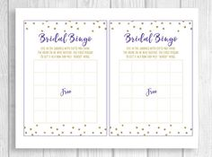 Weddings by Susan is now offering DIY Digital Download bridal shower invitations, signs, banners and more.  This listing is for a digital, printable copy of a Bridal Shower Bingo baby shower game from my purple and gold glitter polka dot bridal shower collection. After payment, you will be able to instantly download and print the .pdf files of game. The game cards measure 5x7 when printed on 8.5 inch by 11 inch card stock and cut out.  You can print as many copies of these designs on your…