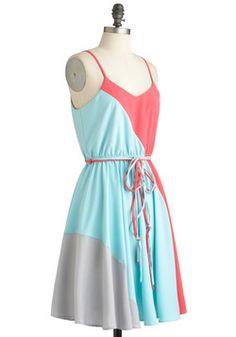 Worth a Tricolor Dress in Aquamarine - ModCloth