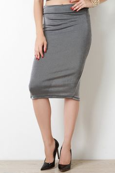 @modaonpoint Ribbed Stretch Midi Skirt