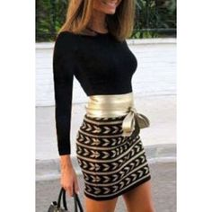 Chic Printed Waist Bandage Long Sleeve Bodycon Dress For Women $22.55